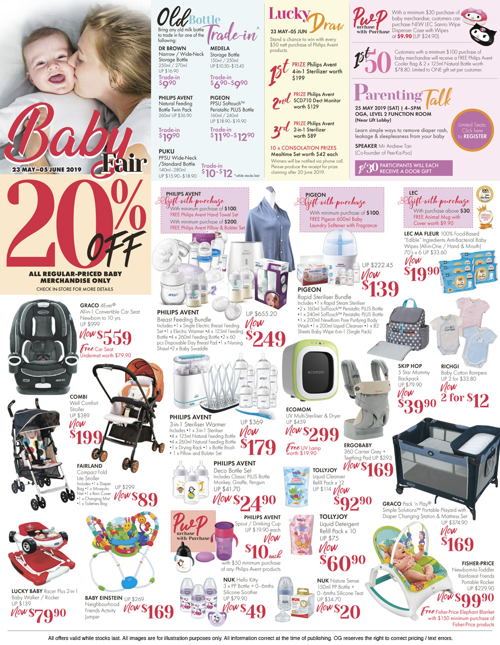 milk, diaper and other baby care products that are under promotion