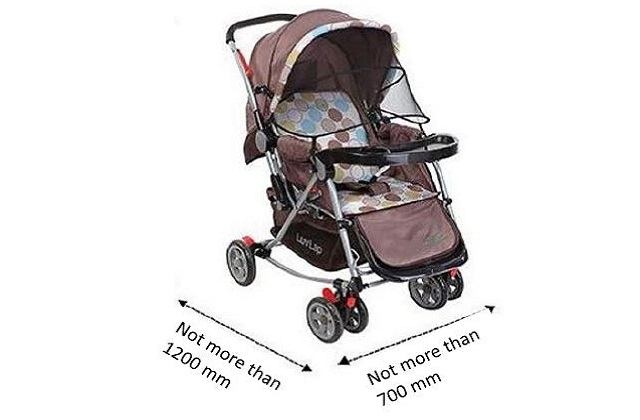 Open strollers on public bus: Guidelines on open strollers on public buses, dimension of strollers allowed on bus, boarding and alighting procedures and placement of strollers on bus.